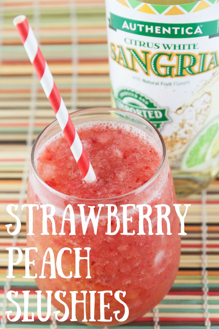 Strawberry Peach Slushies:  -2 cups Authentica White Sangria -1 1/2 cups frozen strawberries -1 1/2 cups frozen peaches -1 cup ice  Add all ingredients into a blender until a slush forms. Pour into a glass and enjoy!  #sangria #slushies #cocktails