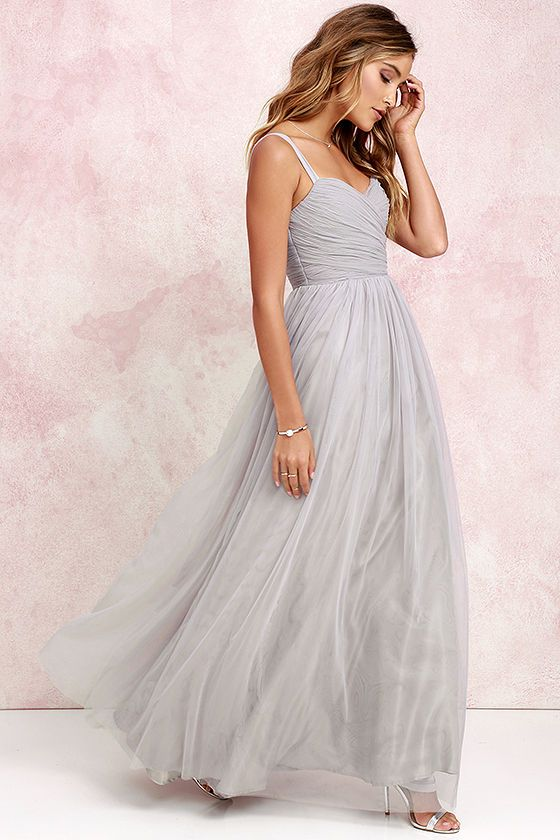 We'll make dress shopping as easy as we can for you with the Sunday Kind of Love Grey Tulle Gown! You won't believe how gorgeous this maxi dress is in real life, with layers of tulle wrapping a padded sweetheart bodice (with shoulder straps), and expanding into a voluminous full skirt. Wear it as-is, or customize to your heart's desire! Hidden back zipper/clasp.