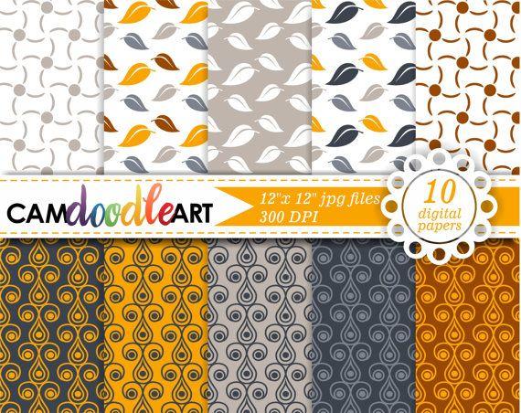 Fall Digital Paper Pack Orange Gray Brown Digital by CamDoodleArt