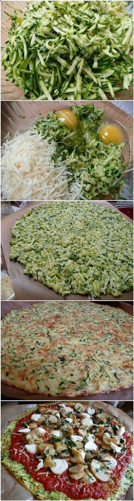 Zucchini Crust Pizza - I made this and IT WAS FANTASTIC! 2 zucchinis per crust, I added Italian seasonings and garlic along w cheese and 2 eggs. Baked it 30 minutes, till it was lightly brown on top. Out of the oven, put the meat and veggies directly on top of crust then layer the sauce (keeping the sauce off the crust), then cheese. Bake until toppings are melted. Good stuff. You won't miss the carbs!
