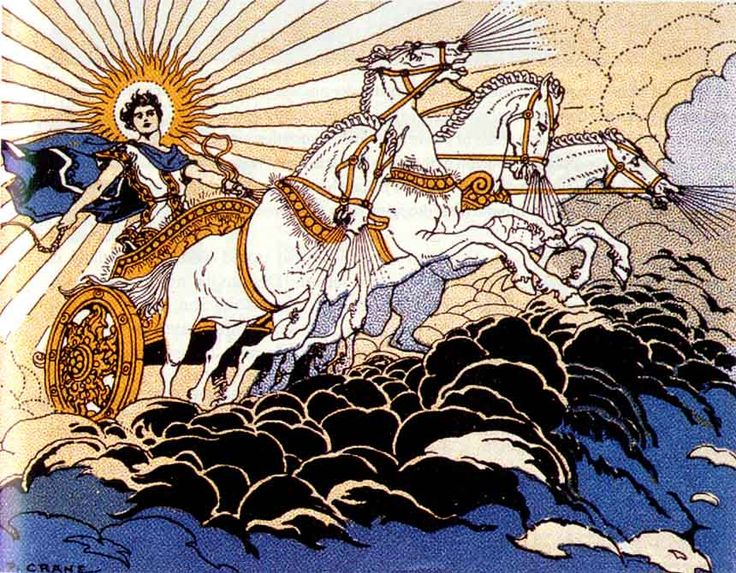 Helios was depicted as a handsome, usually beardless, man clothed in purple robes and crowned with the shining aureole of the sun. His sun-chariot was drawn by four steeds, sometimes winged.