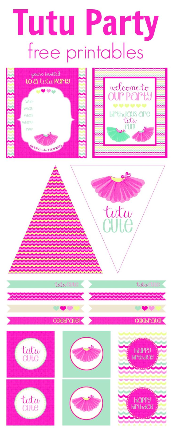 Tutu Party Free Printables | Perfect birthday or playdate theme <3 www.weheartparties.com