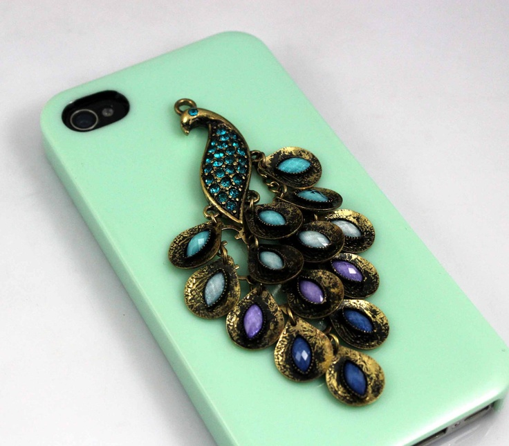 Beautiful Peacock, reseda Hard Case Cover For Apple iPhone 4g/4s. $8.99, via Etsy.