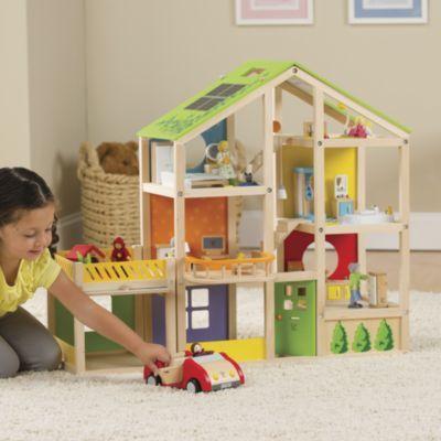 Hape All Season Dollhouse With Garage For Tessa