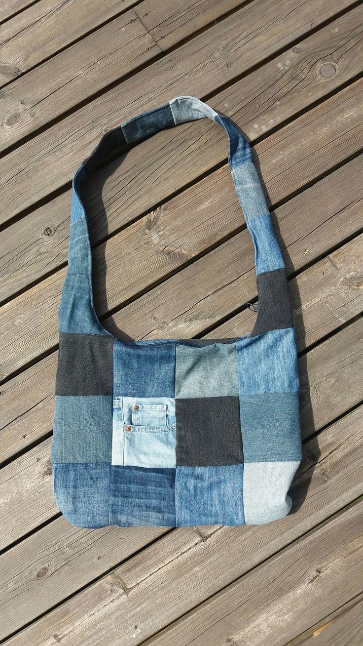 MannaDsign; Handbag recycled denim, slingbag, återbruk jeans, DIY, boho