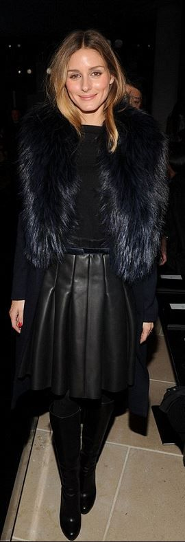Who made Olivia Palermo's navy blue coat, black pleated skirt, and black boots that she wore in New York?