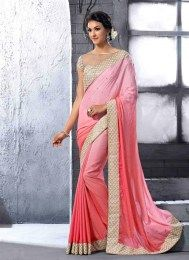 Elegant Peach Color Opulent Party Wear Designer Sari