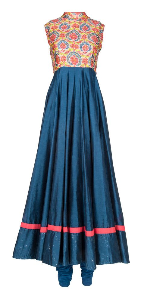Prussian Blue Chanderi Anarkali. Featuring ethereal anarkali & suits from Maya & Amar's festive collection. Sleeveless prussian blue chanderi silk Anarkali with handwoven colorful motifs & crystal accents on bodice. – LuxShoppe.com