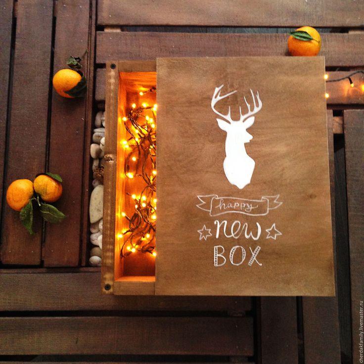 Купить Ящик деревянный новогодний - коричневый, Новый Год, новый год 2016, рождество, ящик
