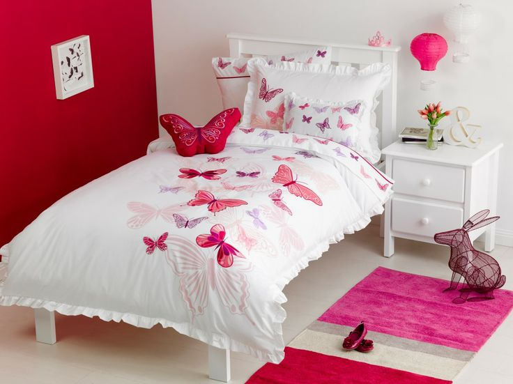 Fly Butterfly Crisp White Base With Print, Applique And Embroidery Detail.  Coordinating Sheet Sets