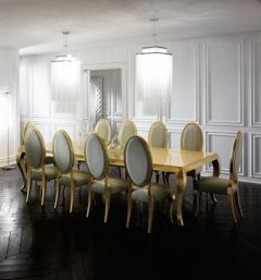 ivory alligator and gold dining set