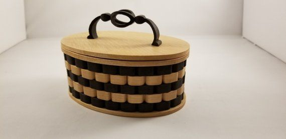Wooden Woven Look Keepsake box