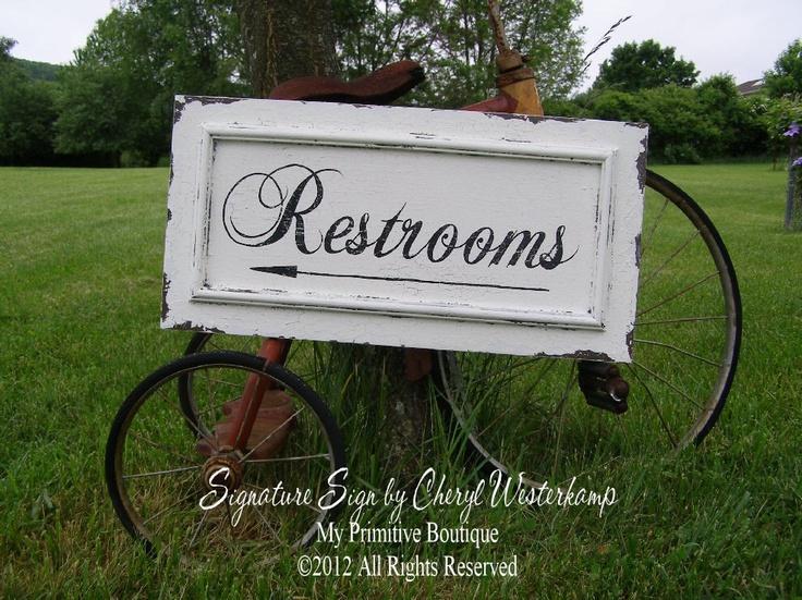 Vintage RESTROOMS SIGN, WEDDING Sign, Venue Sign, Restaurant Sign, Bathroom Sign 24 x 12. $69.00, via Etsy.