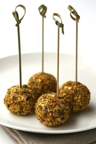 Goat Cheese Truffles with Black Olives, Pistachios and Orange Powder ¦ ll Cavoletto di Bruxelles