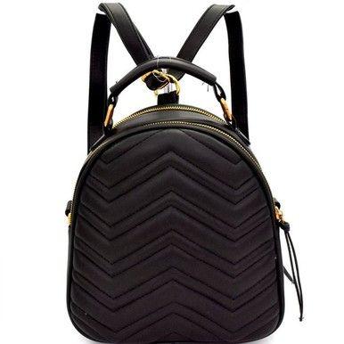 Black Chevron Backpack Bag