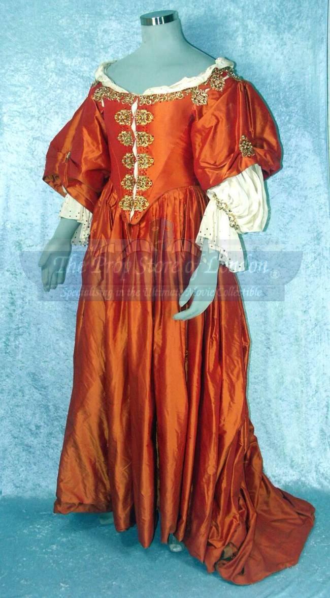 [1660 environ] Robe brocart jaune or à crevés frontaux ...
