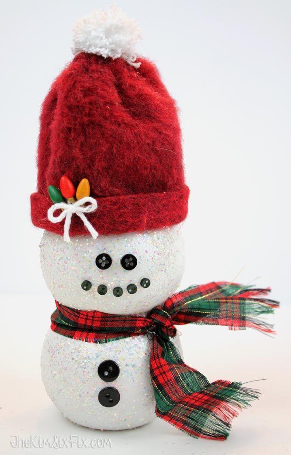Darling Snowman From a POM Juice Bottle