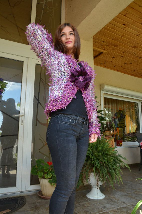 Women Crochet Jacket with long sleeve by AnnesMagicCrochet on Etsy