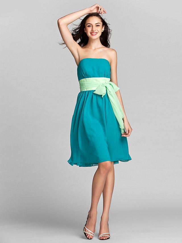 longueur genou robe demoiselle d'honneur une robe bustier en ligne (1996106) - USD $79.99