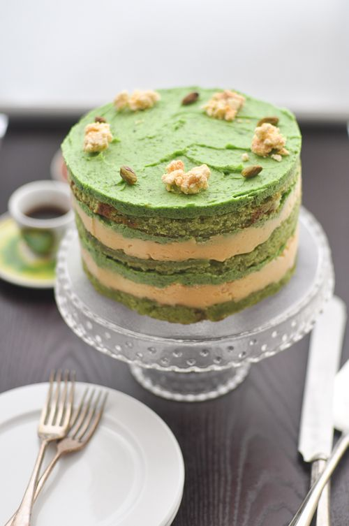 Pistachio cake- the perfect cake for my non-dessert loving husband's birthday (although considering the tininess of my kitchen, and the FOUR separate recipes that this cake entails- he may not like the mess I leave behind for him to clean up.)