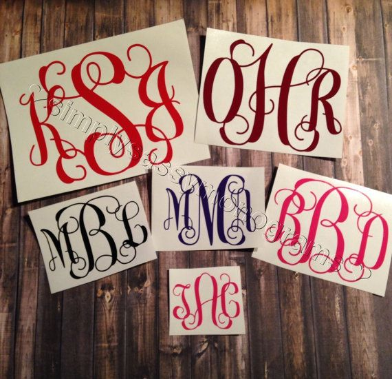 Monogram Car Decal, Monogram Decal  You can apply vinyl monograms decals to most smooth surfaces. They are a great way to dress up anything from your car, Yeti, water bottle, coffe mug, cellphone, laptop, lunch container to walls and mirrors. They come with the transfer tape already attached so all you have to do is peel and stick.  My decals are created with premium outdoor vinyl making them durable for up to 6 years. If you are applying to water bottles, glasses or any other drinkware…