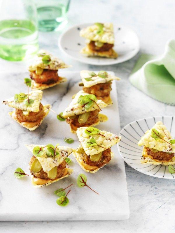 Corn Chip Sliders with Crumbed Fish Patties Recipe | myfoodbook