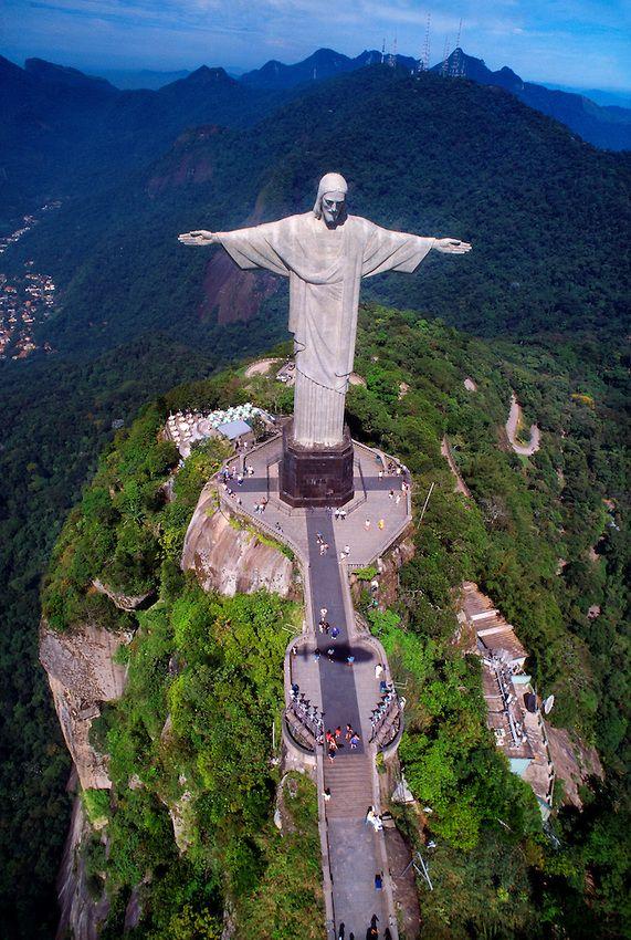 aerial view statue christ redeemer cristo redentor corcovado mountain rio de