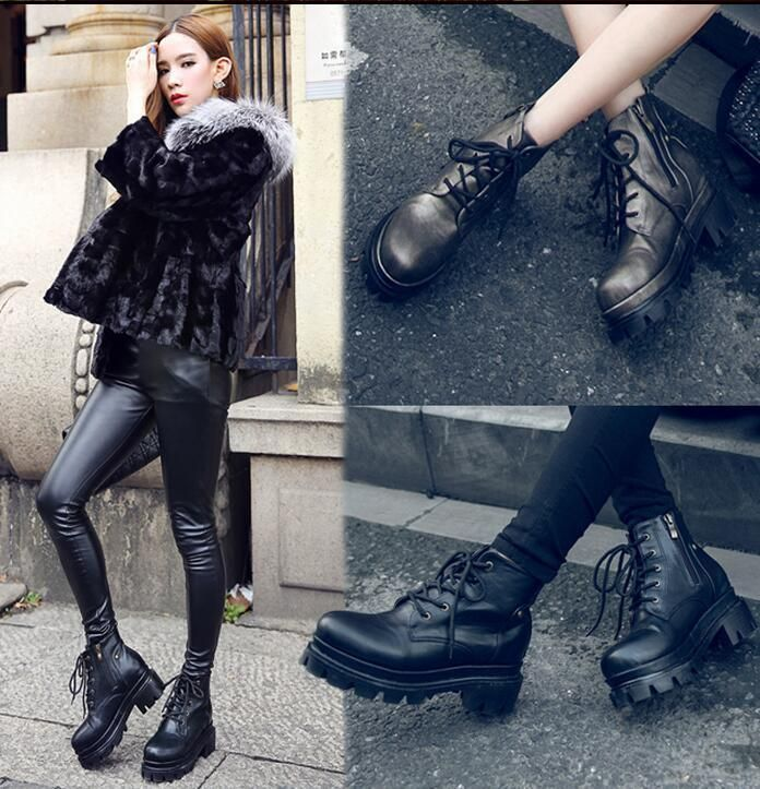 Hot Sale Women's Punk Style Black Leather Lace Up Ankle Knight Boots Shoes D517