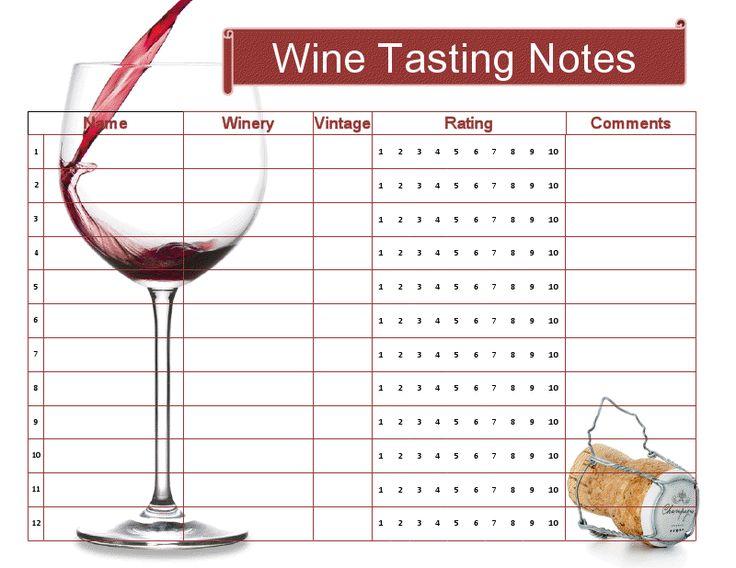 Free wine tasting sheet printable Cocktail Hour Pinterest
