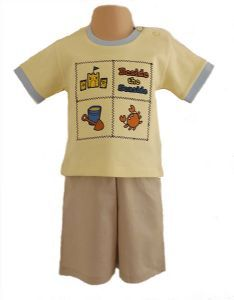 Beside The Seaside Baby Boy 2 Piece Shorts & T-Shirt Outfit in Yellow and Khaki £7.99
