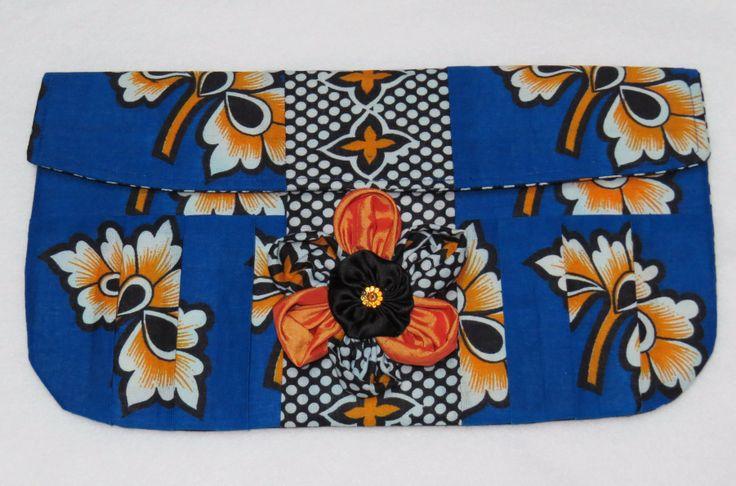 Kanga clutch purse with kanga, taffeta & satin brooch.