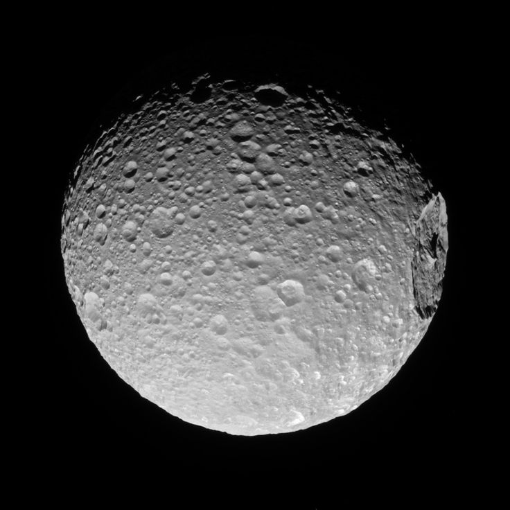The Big One Mimas' gigantic crater Herschel lies near the moon's limb in this Cassini view. March 13 2017