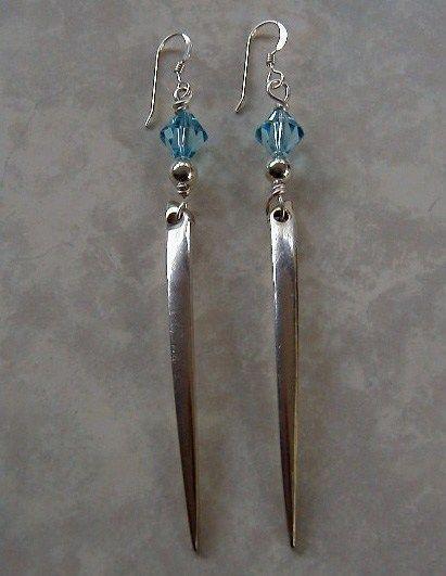 Silver Fork Tine Earrings Recycled Silverware Swarovski Crystals | LTCreatesJewelry - Jewelry on ArtFire