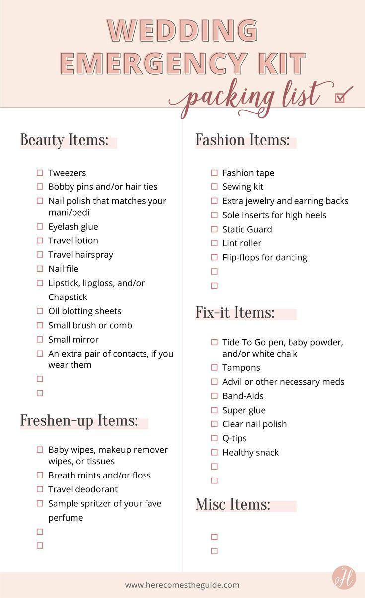 Why You Need A Wedding Day Emergency Kit Checklist Of What To Wedding Emergency Kit Emergency Kit Wedding Kit
