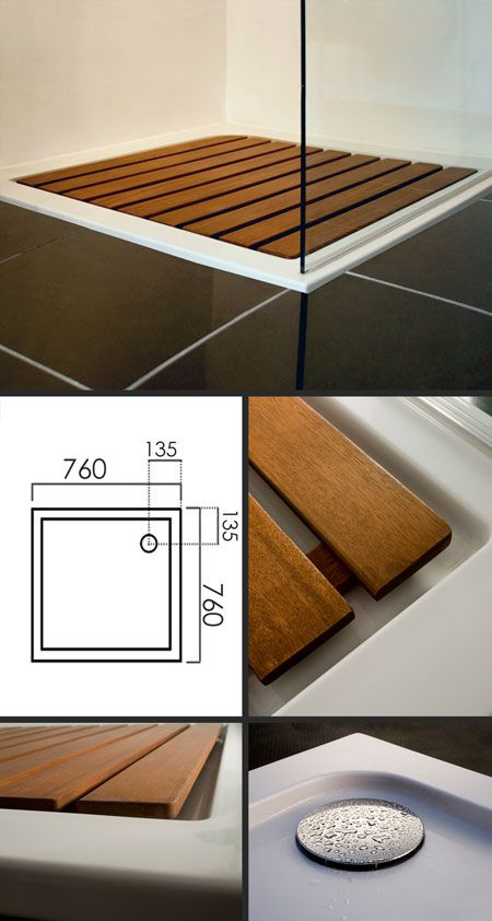 Samba Shower Tray with Hardwood Insert - Perfection! A cost effective way to have a sunken shower tray with sufficient drainage area to avoid water going all over the floor.