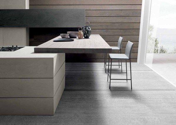 The Twenty Cemento kitchen by Italian kitchen manufacturer Modulnova. Industrial chic