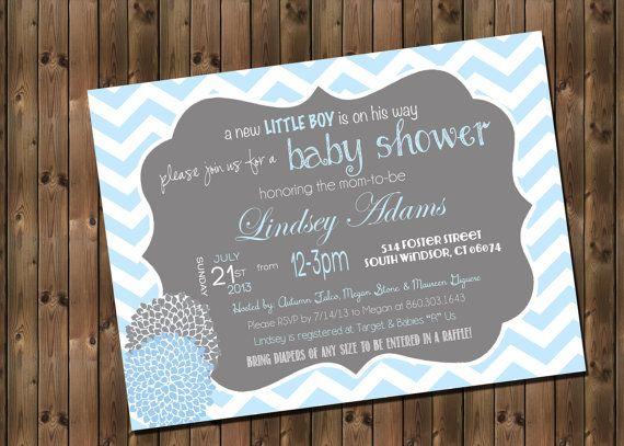 Baby Boy Shower Invitation Chevron Invitation by RockStarPress
