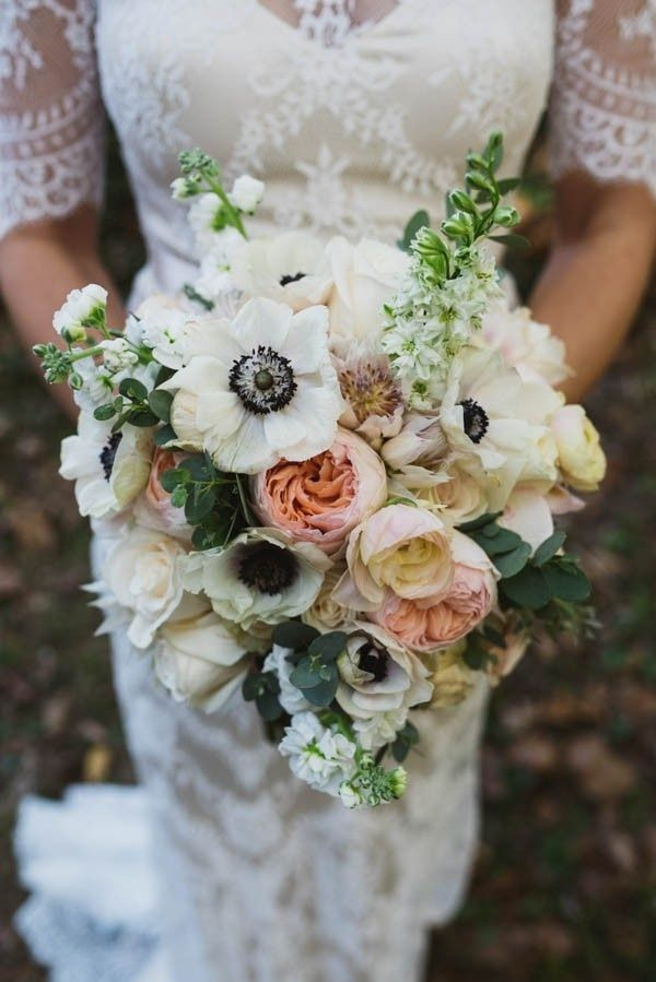 Elegant Bridal Bouquet With Anemone Peony And Snapdragon