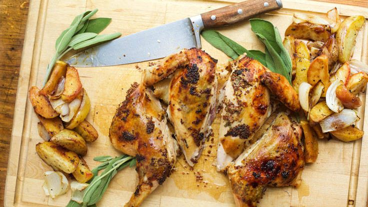 Rachael Ray Spatchcock chicken with apples, mustard, sage, and maple syrup - The perfect dish for fall -- simple and elegant.