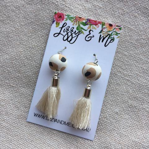 """""""Tullulah"""" - Tassel Earrings - Leopard Print"""