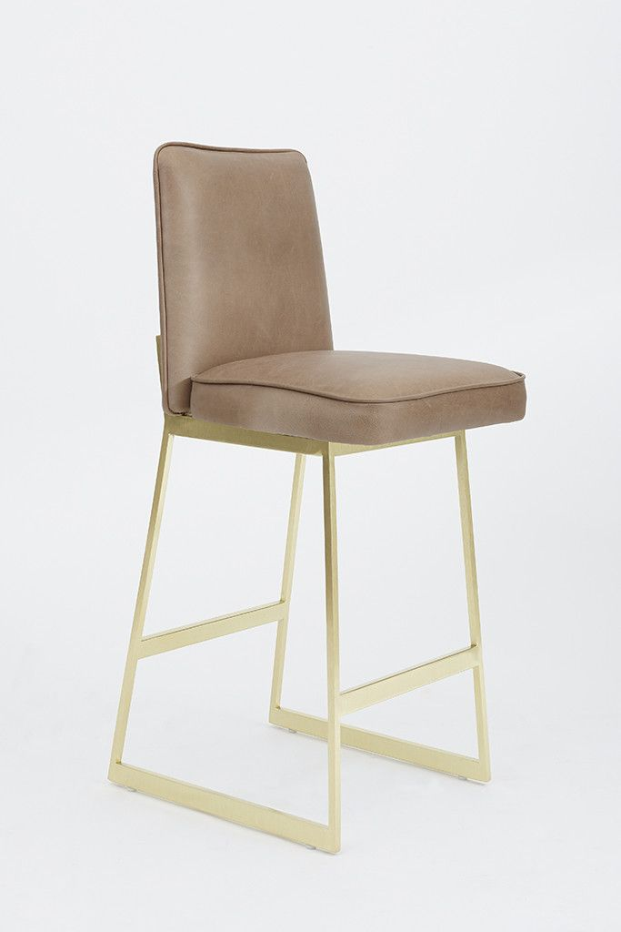 Elysian Barstool | $1,550 plus cost of 1 yard of fabric  (3) KITCHEN STOOLS IN DOL WHITE LEATHER