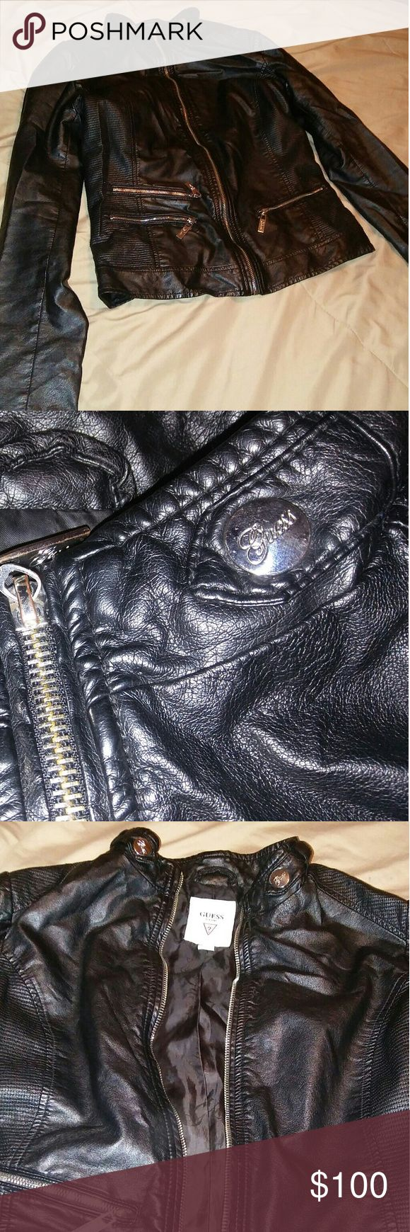 Guess Leather Jacket Guess Leather Jacket. Size Medium. Amazing Condition. Worn Once. Paid $150.00 For It At The Wrentham Outlets in MA.  Will Ship Same Day Unless Post Office Is Closed For A Holiday! Guess Jackets & Coats Jean Jackets
