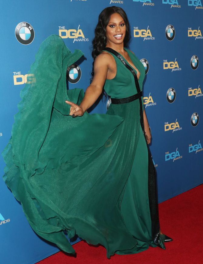 WHAT A GEM   Laverne Cox is a vision in emerald green as she attends the 69th Annual Directors Guild of America Awards on Saturday in Beverly Hills. Star Tracks: Monday, Feb. 6, 2017