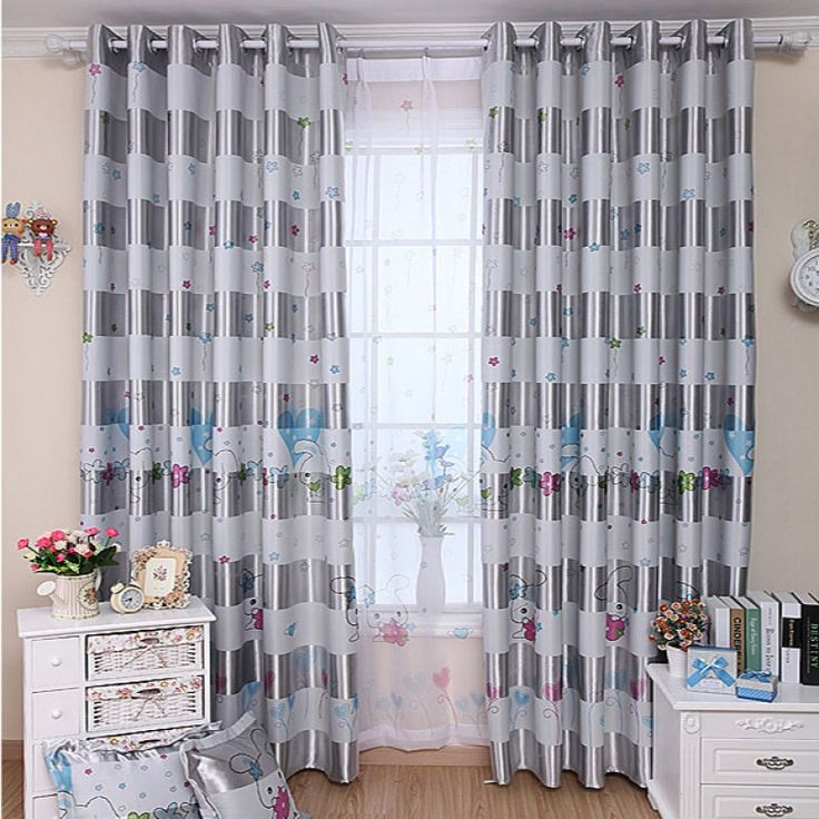 Blackout Cartoon Curtain for Children's Room - Silver Bunny