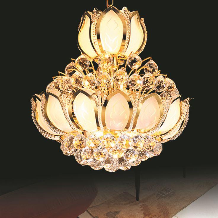 Lustres Crystal Chandeliers Golden Crystal Chandelier LED Luxury Home Lighting Fixture Deco LED Chandelier Modern Lustres E14 #Affiliate