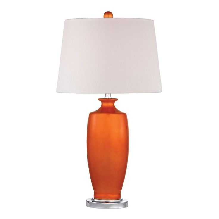$178 15Dia x 27H 150watts (one way or 3way switch?) Not quite sure if this tangerine will match the ruddy orange of the drapes... ceramic & metal construction with linen hardback shade. Mila Table Lamp, Tangerine
