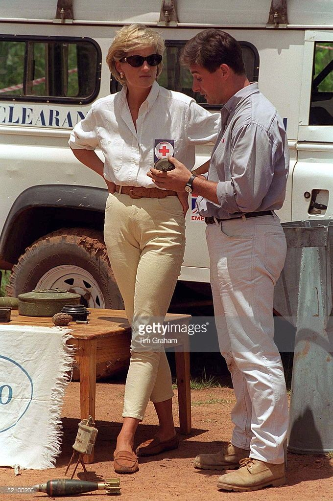 January 15, 1997: Diana, Princess of Wales, visiting a mined area being cleared by the Charity Halo in Huambo, Angola.