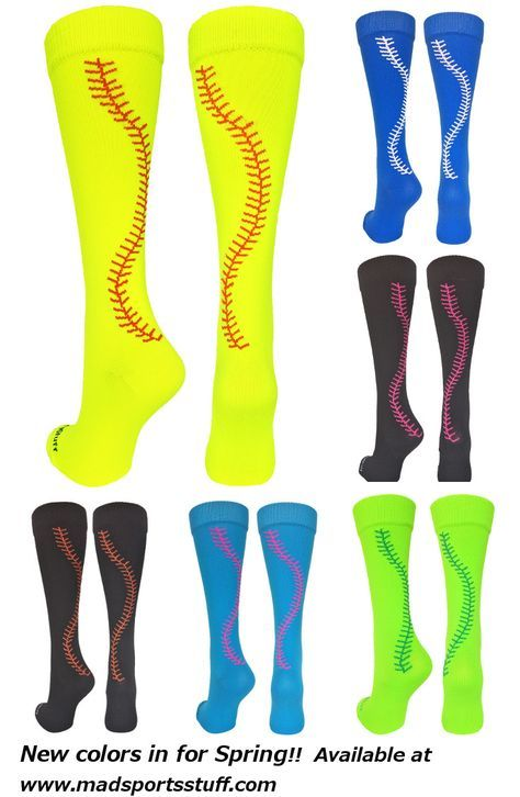 607691510 MadSportsStuff Softball Stitch Over the Calf socks. Even more colors  available on our website.