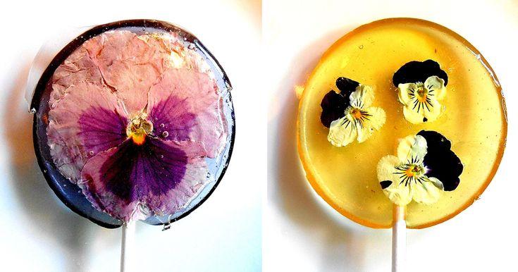 Edible Flower Petals Preserved Inside Lollipops | Bored Panda