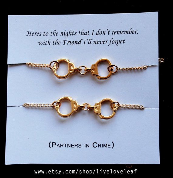 Set of 2 Gold plated Handcuffs bracelets - BFF jewelry - Best friends Graduation gift idea Best bitches handcuff jewelry sisters partners in...